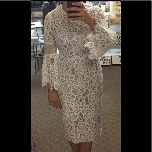 Lela Rose below the knee white lace dress